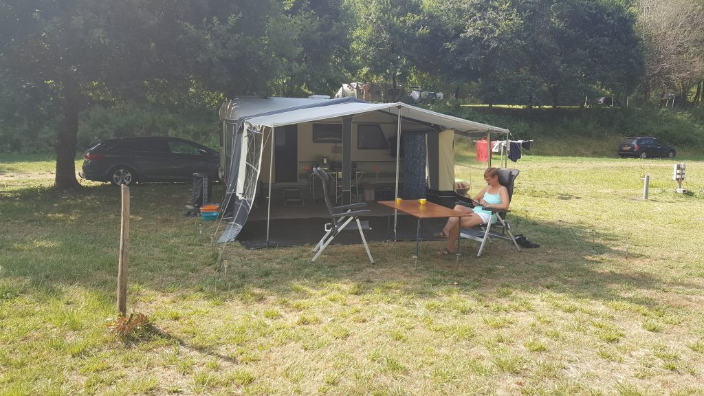 Happy guest at the small campsite on the Dordogne