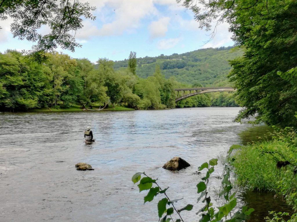 Vliegvissen in de Dordogne direct vanaf de kleine camping La Champagne